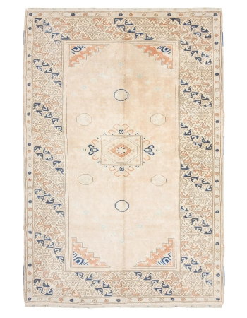 "Washed Out Vintage Turkish Milas Rug - 7`1"" x 10`5"""