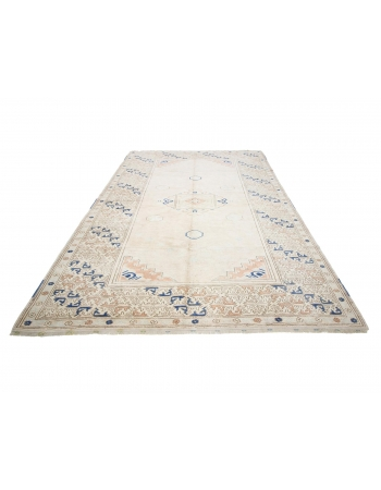 """Washed Out Vintage Turkish Milas Rug - 7`1"""" x 10`5"""""""
