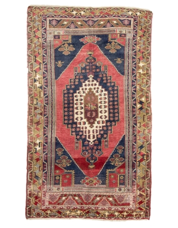 "Geometric Vintage Turkish Wool Rug - 5`2"" x 8`9"""