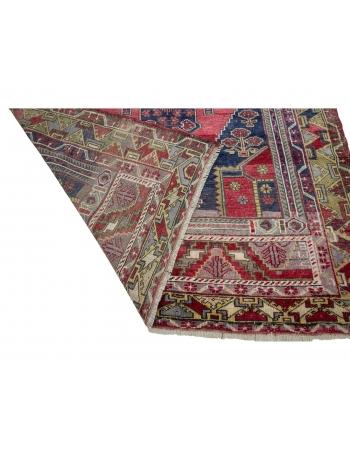 """Geometric Vintage Turkish Wool Rug - 5`2"""" x 8`9"""""""