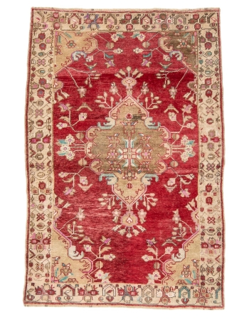 "Red Vintage Turkish Konya Rug - 4`7"" x 7`1"""