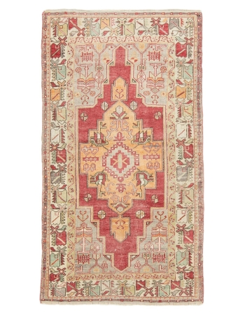 "Vintage Decorative Turkish Konya Rug - 3`11"" x 7`1"""