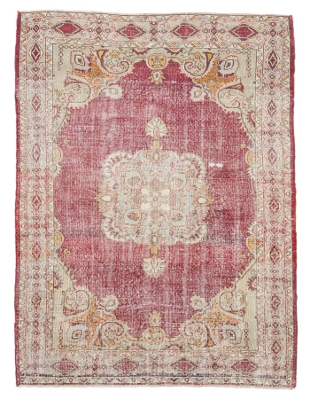 "Distressed Vintage Turkish Oushak Rug - 5`11"" x 8`0"""