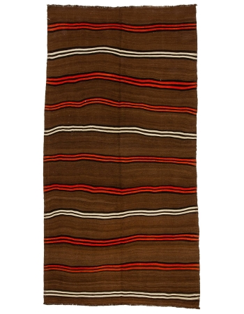 "Brown & Orange Striped Vintage Kilim Rug - 6`0"" x 12`0"""
