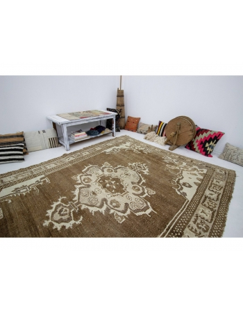 "Brown Vintage Turkish Kars Rug - 7`0"" x 9`6"""