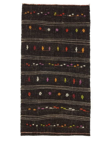 "Embroidered Vintage Goat Hair Kilim Rug - 5`5"" x 10`7"""
