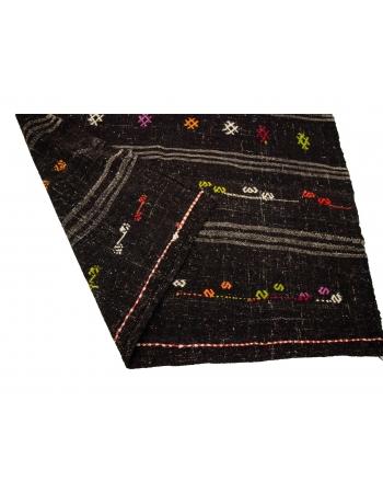 "Embroidered Vintage Goat Hair Kilim Rug - 5`5"" x 10`7"""