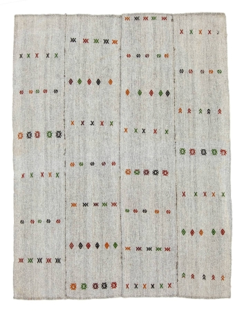 "Embroidered Vintage Gray Kilim Rug - 5`2"" x 6`8"""