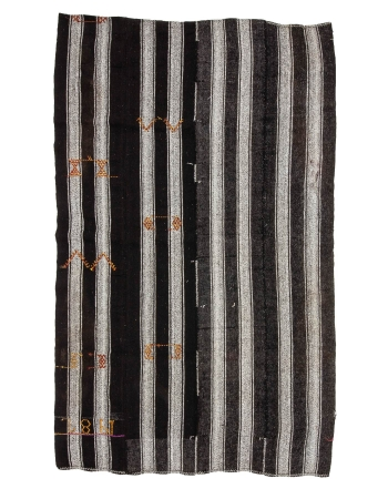 "Striped Gray & Black Vintage Kilim - 6`5"" x 10`5"""
