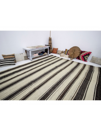 "Striped Large Vintage Kilim Rug - 7`9"" x 13`0"""