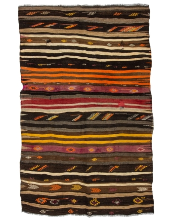 "Striped Decorative Vintage Kilim Rug - 5`11"" x 9`4"""