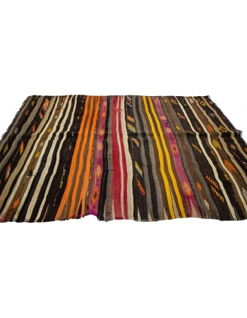 "Striped Decorative Vintage Kilim Rug - 5`11"" x 9`4"""