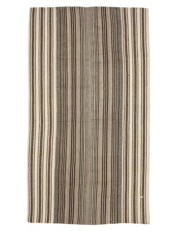 "Striped Modern Vintage Turkish Kilim  - 5`11"" x 10`8"""
