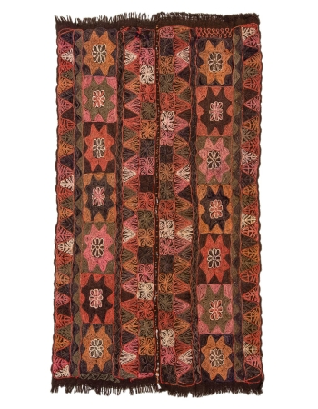 "Embroidered Vintage Arabi Kilim Rug - 4`1"" x 7`9"""