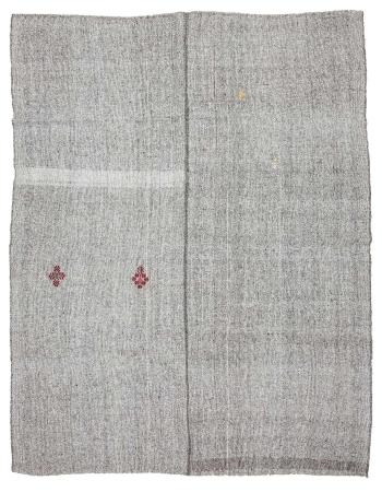 "Vintage Gray Turkish Kilim Rug - 7`3"" x 9`2"""