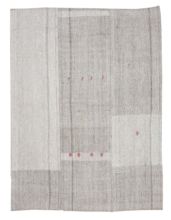 "Large Gray Vintage Kilim Rug - 7`7"" x 10`4"""