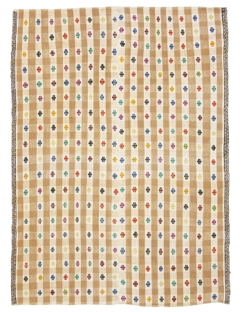 "Embroidered Vintage Turkish Kilim Rug - 6`1"" x 8`2"""