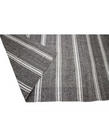 "Gray & White Striped Large Kilim Rug - 8`2"" x 11`3"""