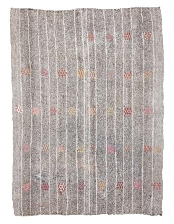 """Gray Vintage Embroidered Turkish Kilim - 8`0"""" x 10`10"""""""