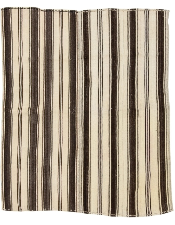 "Striped Vintage Handwoven Kilim Rug - 5`1"" x 6`3"""