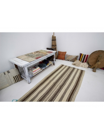 "Natural Striped Vintage Kilim Rug - 2`8"" x 5`11"""