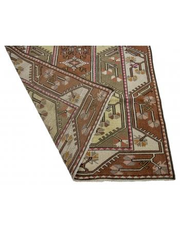 "Vintage Turkish Wool Milas Rug - 3`10"" x 6`11"""