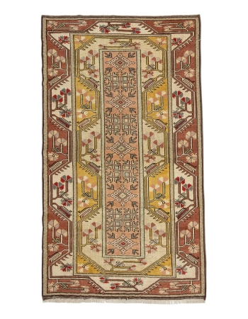 "Vintage Turkish Milas Wool Rug - 3`10"" x 6`9"""