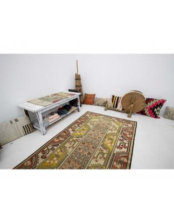 "Vintage Turkish Milas Wool Rug - 3`10"" x 6`9"""