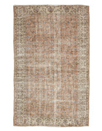"Distressed Vintage Turkish Rug - 5`3"" x 8`6"""