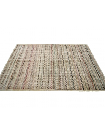 "Vintage Turkish Art Deco Rug - 4`6"" x 7`10"""