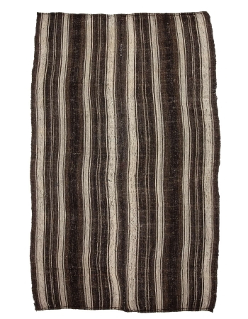 "Striped Vintage Brown & Gray Kilim - 6`8"" x 10`11"""