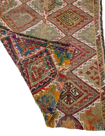 "Small Vintage Embroidered Kilim Rug - 2`6"" x 4`7"""