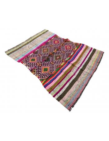 "Colorful Vintage Small Kilim Rug - 4`4"" x 5`11"""