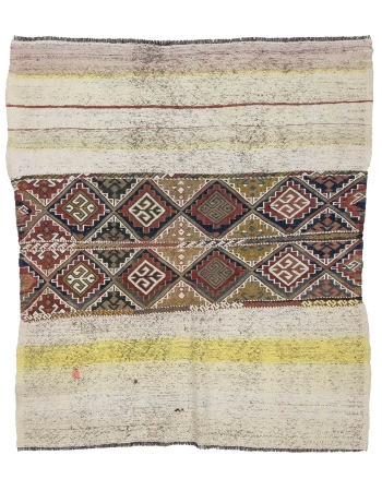 "Unique Vintage Small Decorative Kilim - 4`7"" x 5`1"""