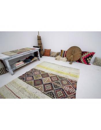 "Unique Vintage Small Decorative Kilim - 4`7"" x 5`1"""