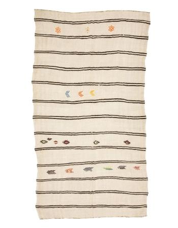 """Striped Vintage Large Turkish Hemp Kilim Rug - 7`9"""" x 13`5"""""""