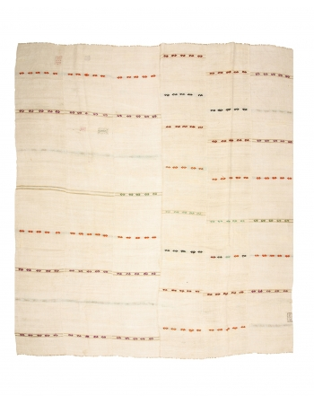 "Vİntage Striped Hemp Kilim Rug - 12`8"" x 13`5"""