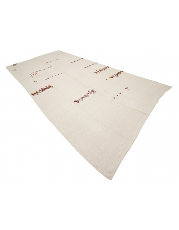 "Vintage White Hemp Kilim Rug With Colorful Pon Pon - 7`1"" x 14`9"""