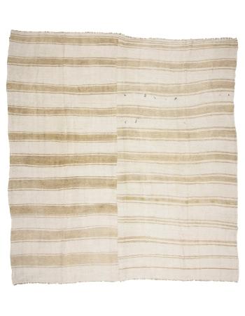 "Square Vintage Striped Hemp Kilim Rug - 11`10"" x 12`2"""