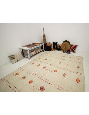 """Embroidered Large Vintage Hemp Rug - 6`4"""" x 12`8"""""""