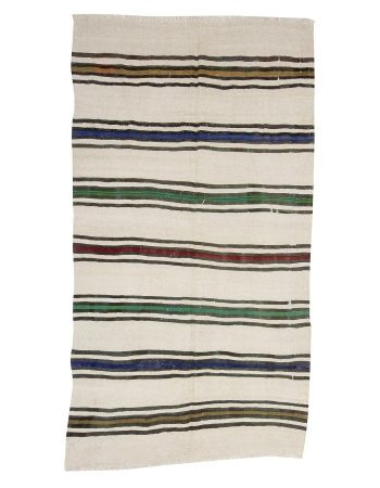 "Striped Vintage Hemp Kilim Rug - 4`11"" x 9`0"""