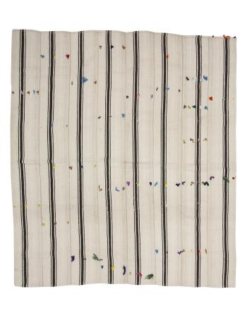 "Black & White Striped Vintage Kilim Rug - 7`9"" x 8`10"""