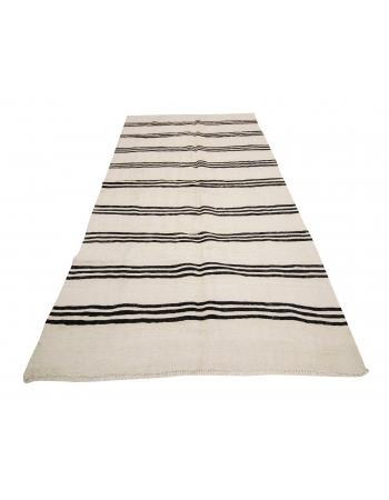 "Black & White Striped Vintage Kilim Rug - 4`5"" x 8`4"""