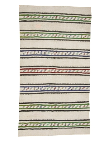 "Vintage Striped Hemp Kilim Rug - 5`0"" x 8`11"""