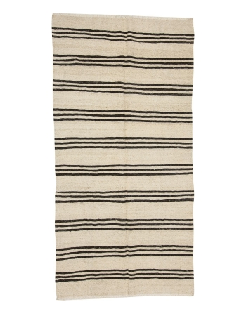 "Striped Vintage Turkish Hemp Kilim Rug - 4`4"" x 8`8"""
