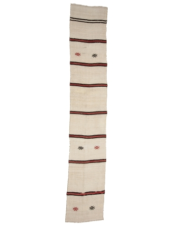 "Striped Vintage Hemp Kilim Runner - 2`4"" x 12`10"""