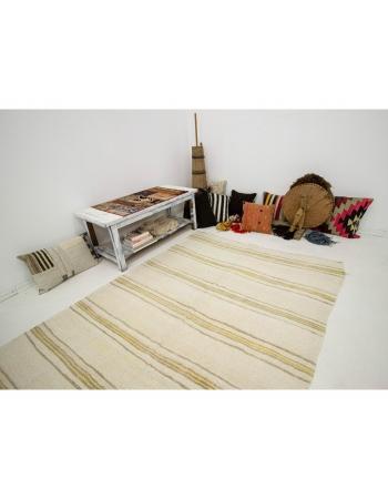 "Striped Vintage Hemp Kilim Rug - 5`3"" x 8`8"""