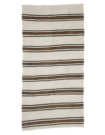 "Vintage Striped Hemp Kilim Rug - 4`9"" x 9`4"""
