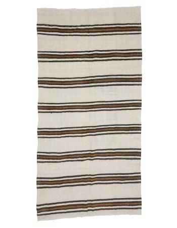 "Vintage Striped Hemp Kilim Rug - 4`9"" x 9`4"""