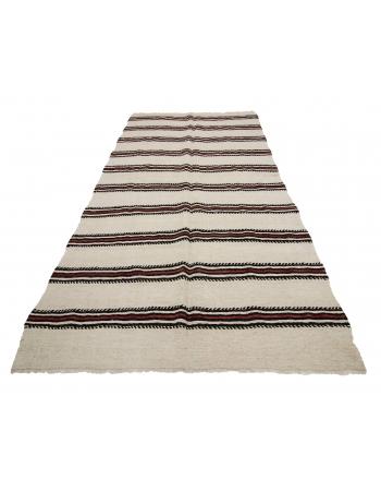 "Striped Hemp Vintage Kilim Rug - 4`9"" x 9`4"""